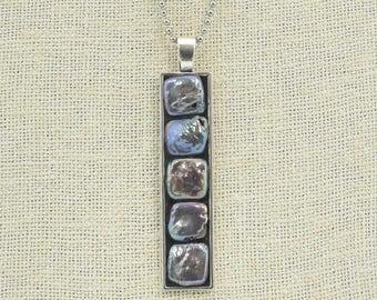 Dark Gray Freshwater Pearls Long Rectangular Pendant Necklace