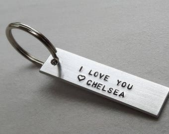 I Love You Keychain • Hand Stamped Keychain •  Custom Keychain • Personalized Key Chain • Gifts for Him • Gifts for Her • I Love You