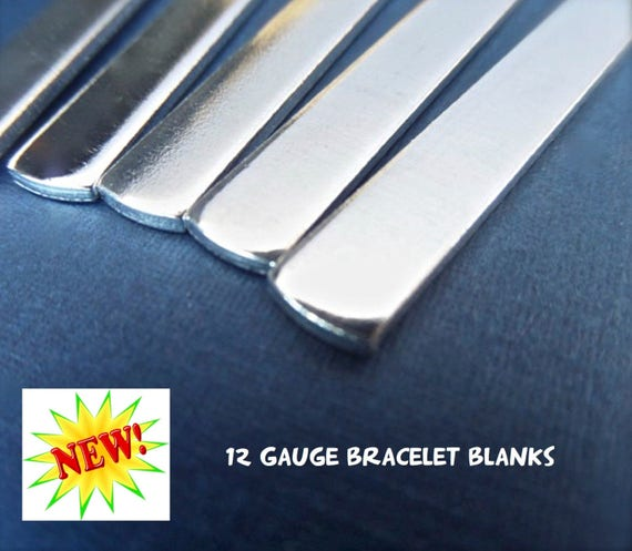 "18 Blanks 12G 1/4"" x 7"" Tumbled Polished Cuffs - Very Thick Pure 1100 Aluminum Bracelet 12 Gauge - Flat - Made in USA"