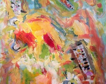 Playing it Again / Abstract  expressive merry and entertaining painting
