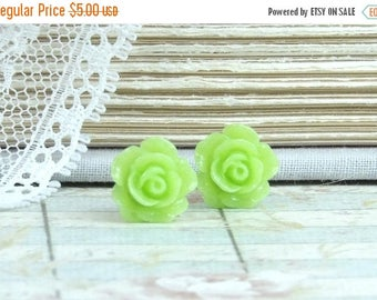Green Rose Earrings Rose Stud Earrings Green Studs Green Flower Earrings Surgical Steel Green Rose Studs