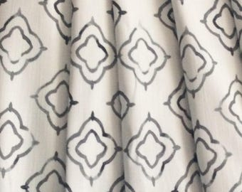 Moroccan Keyhole Fabric in Charcoal and White - by the yard