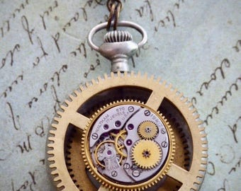 """Steampunk Necklace - """"In the Works"""" - Pocket Watch Case- Pendant- Necklace - Upcycled wearable art"""