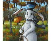 Blank Note Card of a White Rabbit Wearing a Black Hat and Striped Scarf  Holding a Pumpkin Stick Man in an Autumn Scene