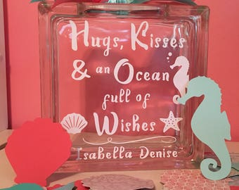 """Unique Guest Book Wish Block -Glass Block with """"Hugs, Kisses and an Ocean full of Wishes"""" - May Be Personalized  - Paper Shells & Starfish"""