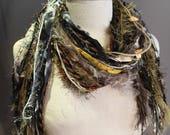Medium Fringie Scarf in Moon Glow, Handmade Fringe Scarf in rich magenta black gold yellow grey, bohemian, fur scarf, short scarves