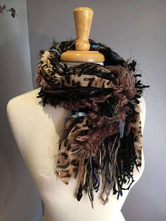 Fringie in Montana Cheetah, All Fringe Scarf, animal print hand-tied fringe scarf, fur scarves, fringe fashion, Boho scarf, gypsy scarf