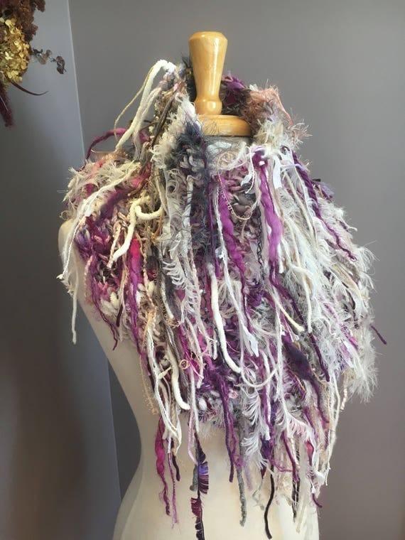 Fringed Plush Knit Cowl, Dumpster Diva Boho Fringed Cowl with fringe, wearable art, huntress, head wrap, rayon silk mohair, purple grey