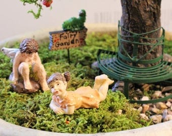 4 Piece Fairy Garden Set Tree Bench Garden Bench Fairy Sign Small