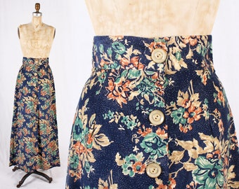 JONI 1970s High Waisted Boho Floral Corduroy Maxi Skirt / Size Small