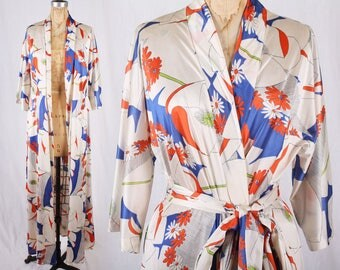 1960s Flower Power Psychedelic Print Sheer Robe Loungewear Beach Coverup / Size Medium