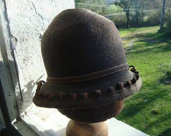 Vintage cloche hat from France - straw from 1930s