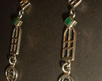 Charles Rennie Mackintosh earrings sterling silver Art Nouveau style with green stone