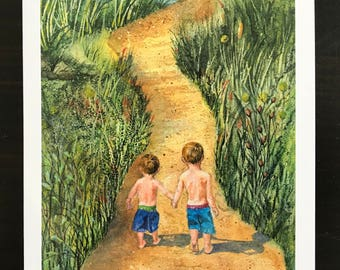 This is a fine art watercolor print,Two Little Boys Bond Walk Hand in Hand Down A Sandy Pathway to the Lake  A Play Day by Janet Dosenberry
