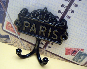 Paris Cast Iron Wall Hook Black French Shabby Chic Home Decor