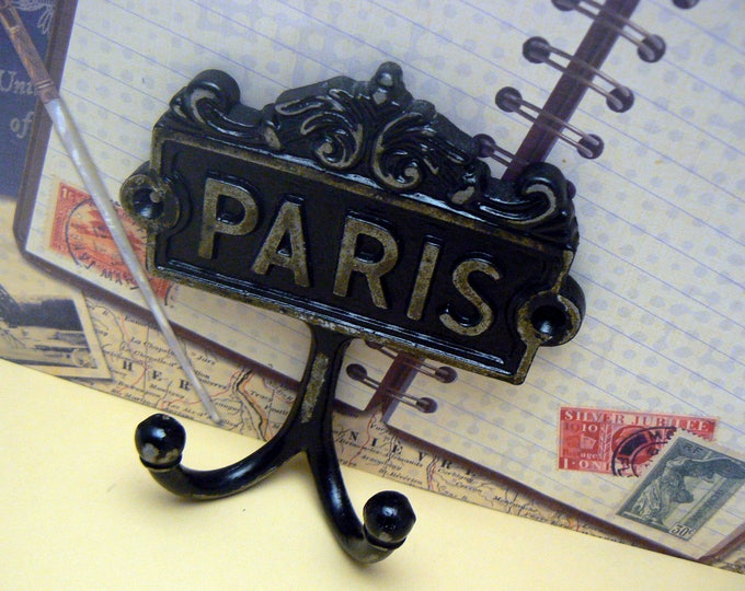 Paris Cast Iron Wall Hook Black French Shabby Chic Home Decor