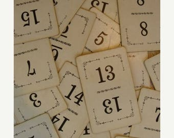 ON SALE 15 Vintage Antique Numbered Playing Cards Great for Table Numbers