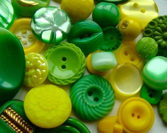 ON SALE 3 Dozen Antique and Vintage Fresh Green Lemon Lime Collection Buttons Rhinestone Wedding Button Jewelry Collection Lot 41
