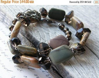 Summer Sale 20% Off Picasso Jasper and Smokey Quartz Wrap Bracelet and Necklace, Chunky Stone Wrap Convertible Bracelet