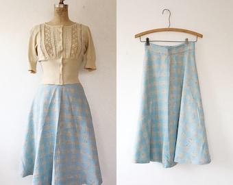 vintage plaid skirt / plaid tweed skirt / Lakelyn Tweed skirt