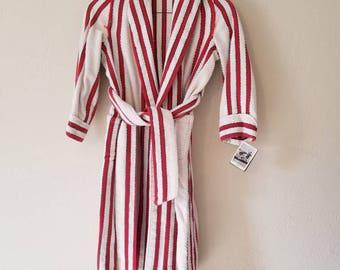 50s boys red striped terry cloth bathrobe, robe, 32