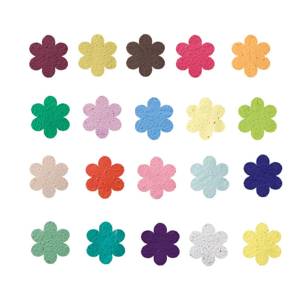 100 Plantable Seed Paper Flower Shapes Grow Beautiful Wildflowers