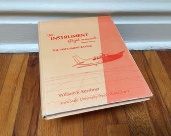 The Instrument Flight Manual Book Airplane Pilot Textbook Vintage 1969 Orange Hardcover