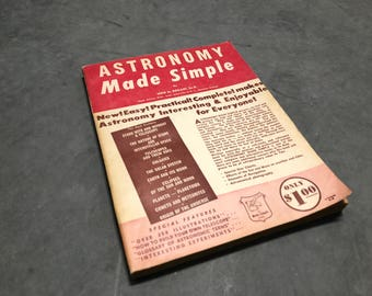 Astronomy Made Simple Book Vintage Distressed 1956 Constellations Stars Outer Planets Star Gazing