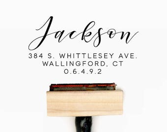 Custom Personalized Return Address Pre-Designed Rubber Stamp - Branding, Packaging, Invitations, Party, Wedding Favors - A006