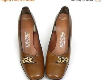 SALE Leopard Print pumps size 7.5 aa // narrow mod 60s shoes vintage