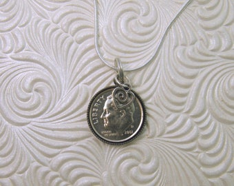 """2016 US Dime Pendant and Necklace, First Anniversary--20"""" Sterling Silver Chain-Coin Jewelry"""