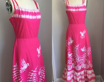 Vintage 1970's Bette of Jamaica Batik Birds and Floral Mermaid Maxi Sun Dress with Matching Purse Size Small