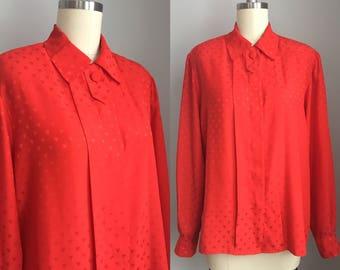 Vintage 1970s Evan Picone Red Hearts Print Blouse Size Medium