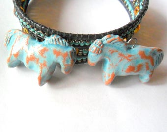 Turquoise Glazed Terra Cotta Clay Indian Pony Horse Bead Pair