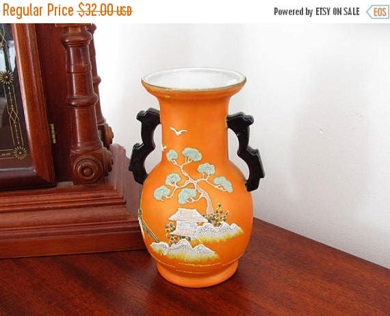 Christmas in July Sale Vintage Art Deco Asian / Japan / Oriental / vase / satsuma / moriage / hand painted / porcelain / bonsai tree / pagod