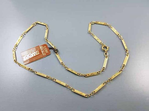 """Vintage NOS new old stock Sweet 18"""" gold fill engrave bar link necklace, pendant, chain, neck chain, gold chain, jewelry supply, replacement"""