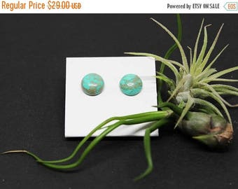 Christmas In July Sale - Chinese Turquoise Gemstone . 10mm Round Dome . Sterling Silver Posts Studs Earrings . Aqua Blue . Turquoise Blue .