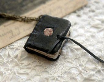 Portable Poet - Wearable Book, Black Recycled Leather, OOAK