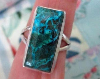 RING - AZURITE - 925 - Sterling Silver  - size 8 blue416