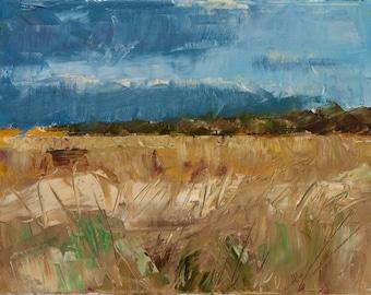 Bright, Colorful, Orange, Ochre Marsh, North Carolina, Outer Banks, Landscape, Blue Cloud Sky, Original Painting by Clair Hartmann
