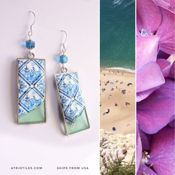 Earrings Portugal Tile Azulejo Antique DIPPED IN OCEAN Porto Blue Ming Chinoiserie  Gift Boxed Delft Willow Pagoda Chinese
