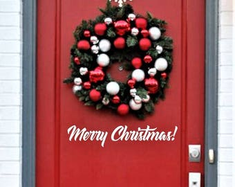 Merry Christmas, Door Decal, Porch Door Sticker, Front Door Greeting, Fancy Script Style Letters, Vinyl Door Decal, Sign Decal, Chalkboard