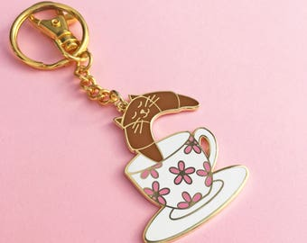 Croisant Cat keychain, tea time key ring, cat lover tea lover cute bag charm enamel keychain, ring and hook keychain, by HibouDesigns