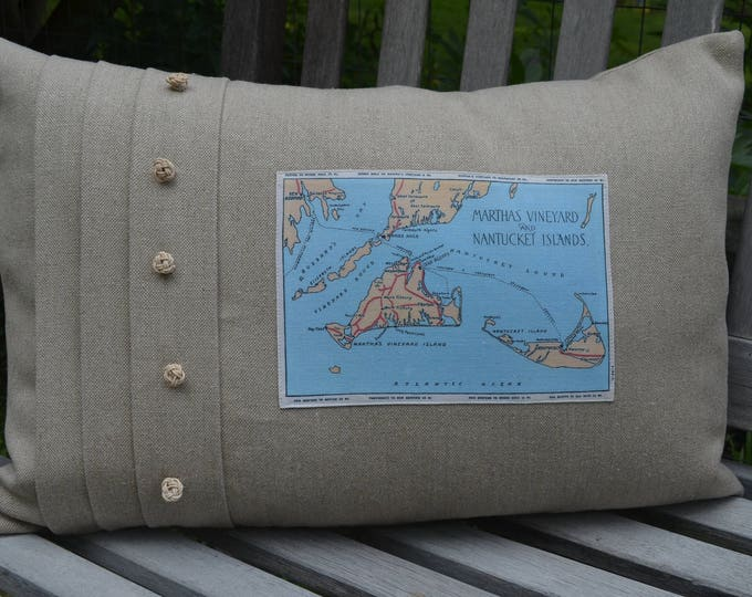 Martha's Vineyard and Nantucket Islands Postcard Pillow (available in 4 styles)