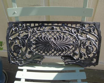 Victorian Salvage Cast Iron Fireplace Fragment Black Enamel Paint Highly  Detailed
