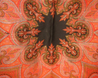 "1860's, 68""x68"", hand woven, wool Indian paisley shawl"