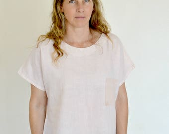 Women's Blush Pink 100% Linen Box Top with Accent Pocket