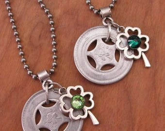 CLEARANCE SALE Good Luck Token - St. Patricks Day Necklace - Irish Theme - Repurposed Aluminum Good Luck Token Necklace w/ Four Leaf Clover