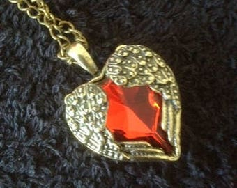 RED HEART in GOLDEN Wings Pendant on Brass chain
