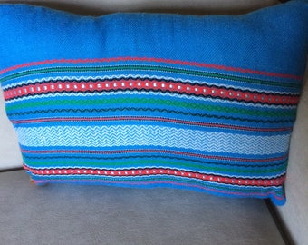 Handwoven Blue Striped Throw Pillow